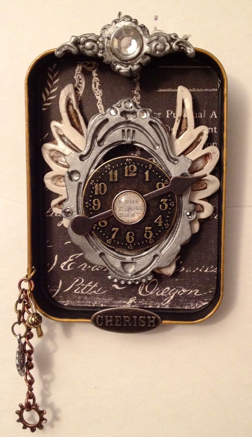 Altered Steampunk Decorator Tin with Clock on Wings. $20.00, via Etsy.