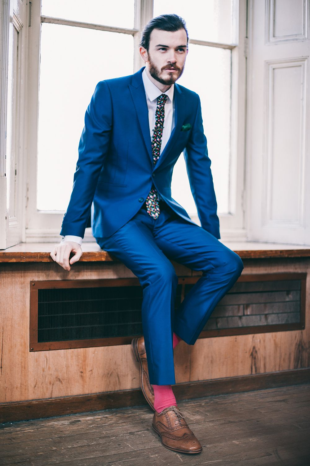 e93f185588e4 Flash a pink sock with your blue suit    Slaters SS15 Collection     Menswear Style    Menswear Details