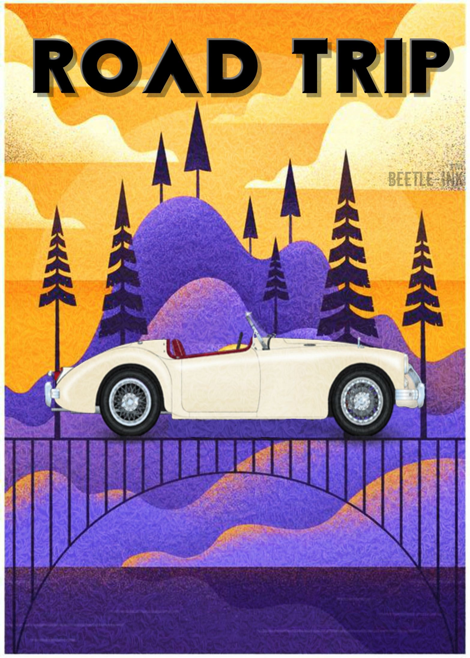 By beetleink automotive artwork classic cars mg cars