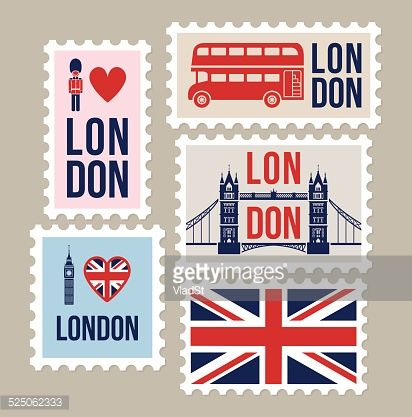 London Great Britain mail travel stamps.