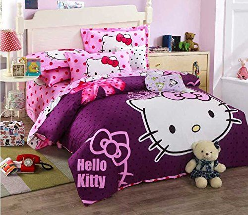 Amazon Com Lt Twin Full Queen Size 4 Pieces Hello Kitty Violet