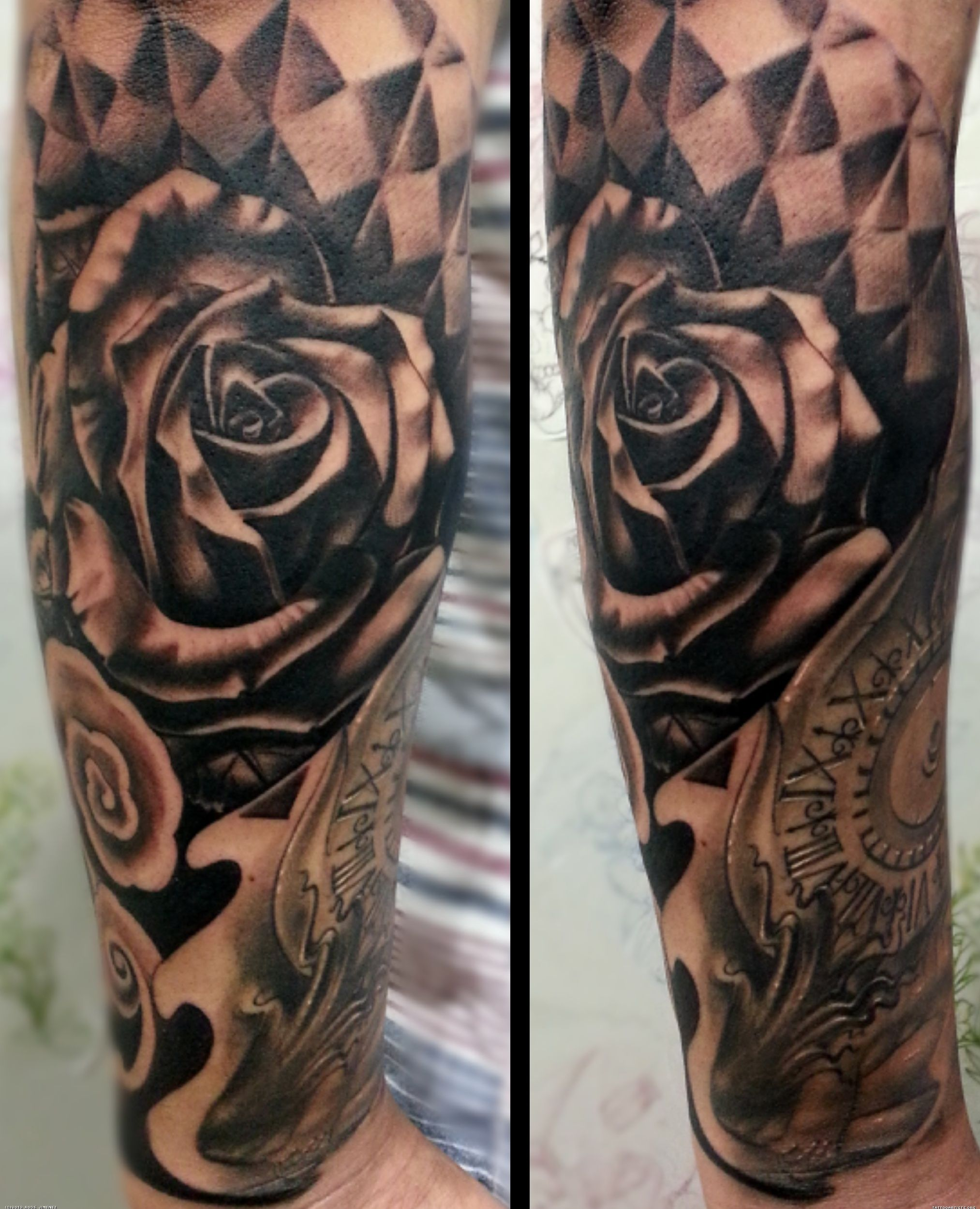 Clock forearm black rose sleeve tattoo - Square Rose Tattoo Tattoo Artists Org