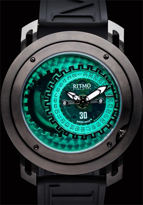 d994663b48d5 Ritmo Persepolis Black Green Dual Orbital Swiss Automatic watch ...