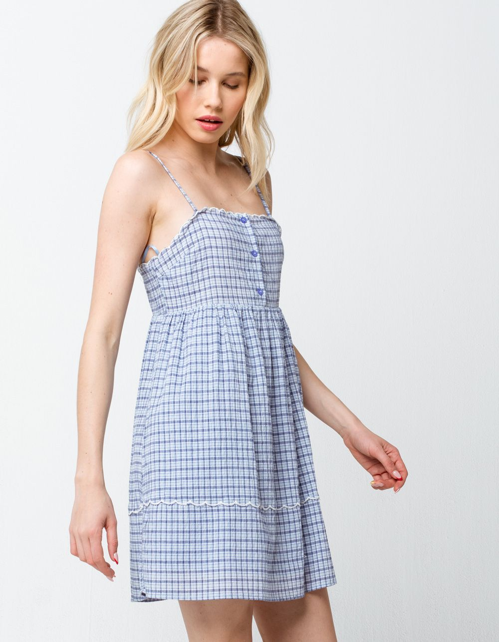 Very J Plaid Scallop Blue Babydoll Dress Blue 377372200 Casual Dresses For Women Plus Size Long Dresses Casual Dresses [ 1286 x 1000 Pixel ]