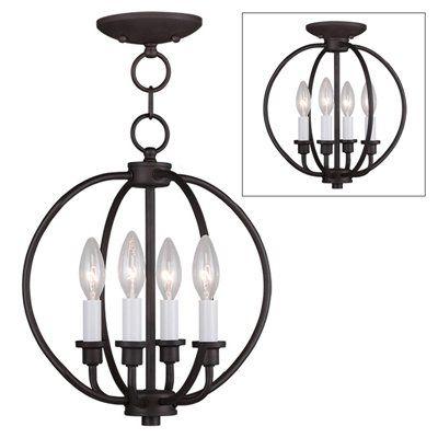 Livex Lighting 4664 Milania 4-Light Convertible Chain Hang/Ceiling Mount Light