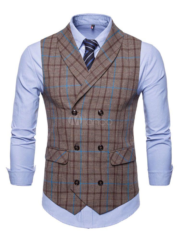 baf2881514af4 Men Suit Vest Plus Size Shawl Lapel Waist Coat Plaid Double Breasted 1950s  Tuxedo