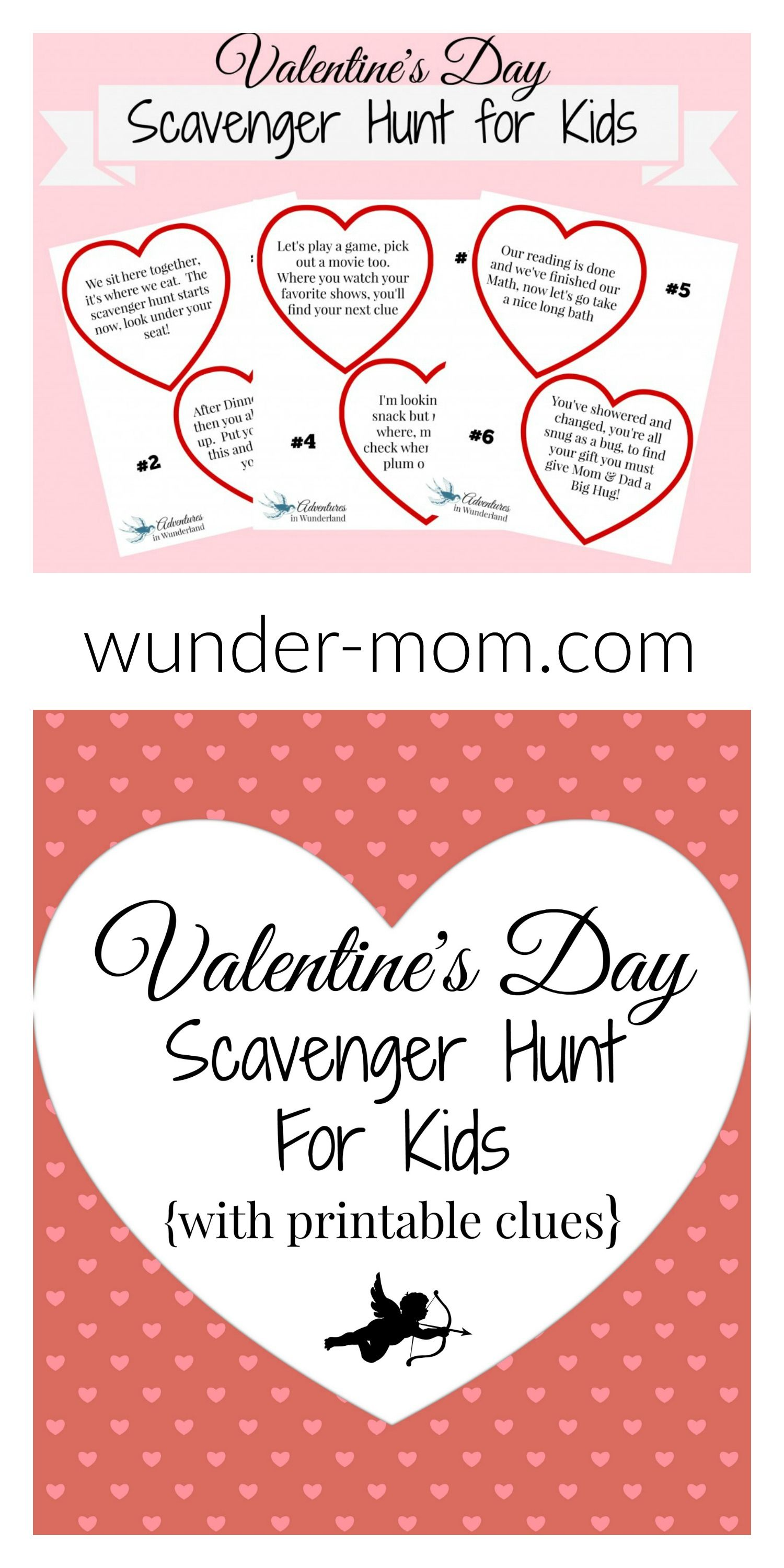 Valentine\'s Day Scavenger Hunt for Kids with Printable Clues ...