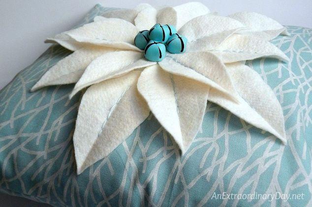 Coastal Christmas Decor ~ Easy No-Measure Poinsettia Pillow Tutorial - coastal christmas decorations