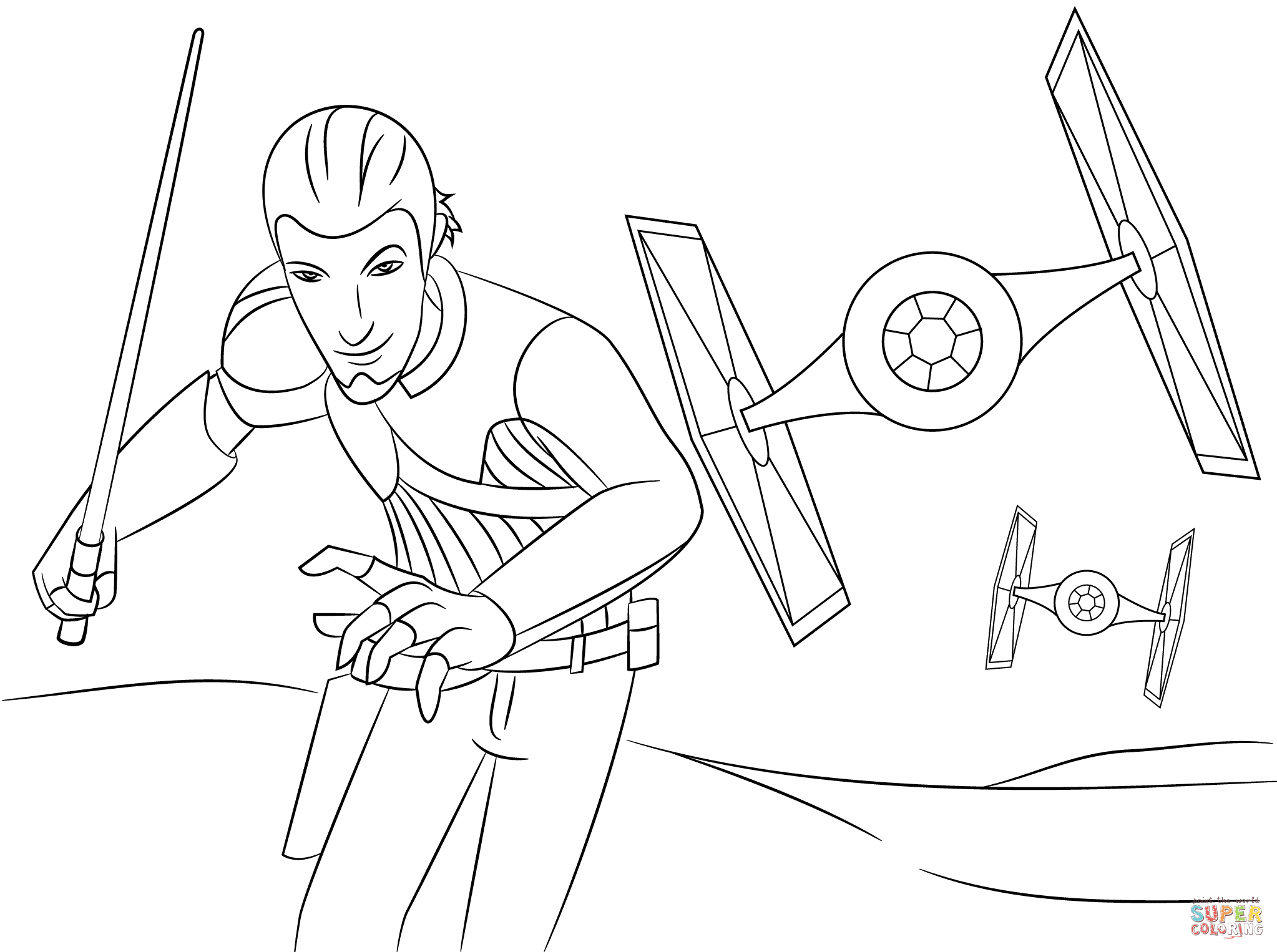 star-wars-rebels-kanan-coloring-pages.png (2046×1526) | LineArt ...