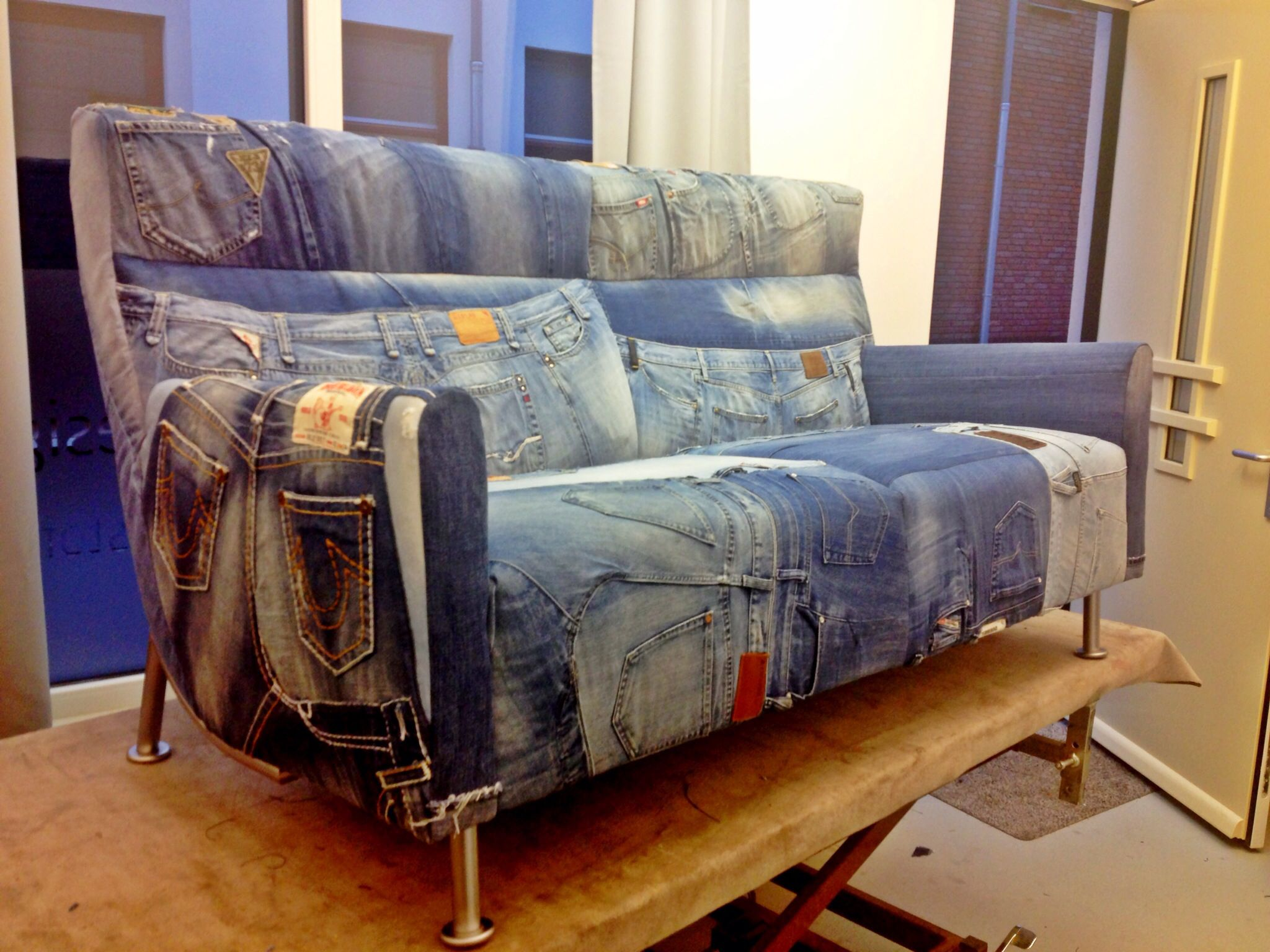 Denim patchwork couch Jeans furniture Jeans Sofa Used denim G