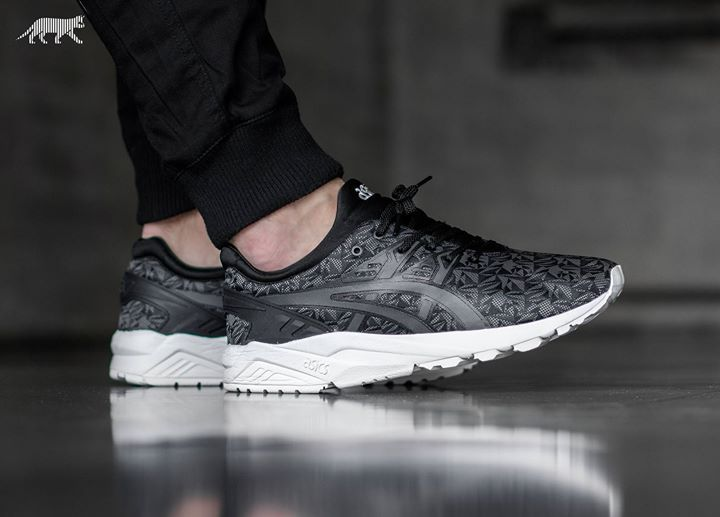 On foot shots of the intricate ASICS Gel-Kayano Trainer EVO Origami.  Available now