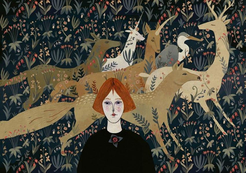 ilustrações 'são inspiradas em contos de fada russos, folclore, arte medieval, arquétipo, florestas, música, animais, e regiões selvagens'.