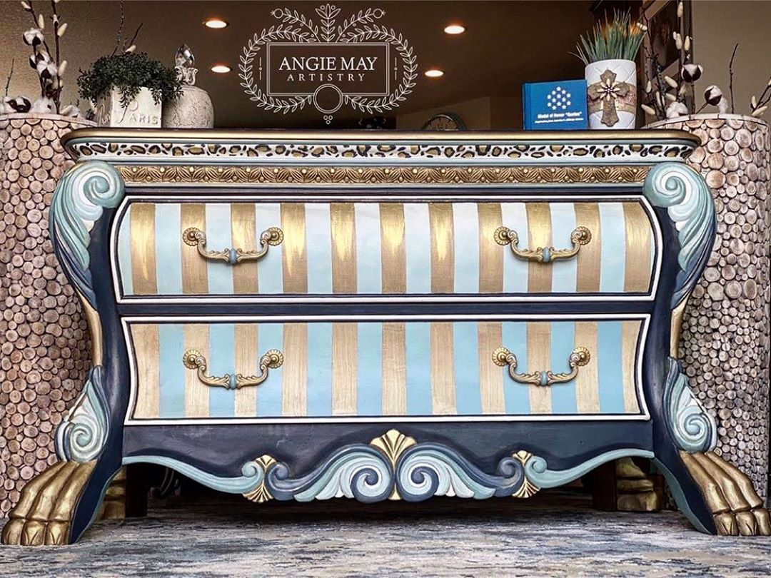 """Angie May's Instagram post: """"Hello everyone! I've created this page to promote my art and share it with the world. As the first affiliate of @funkyfurniturefacelifts,…"""""""