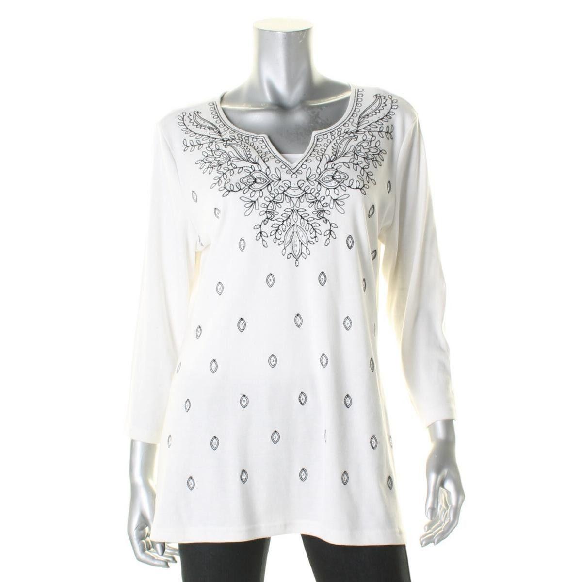 Karen Scott Womens Embroidered Slit-Front Casual Top