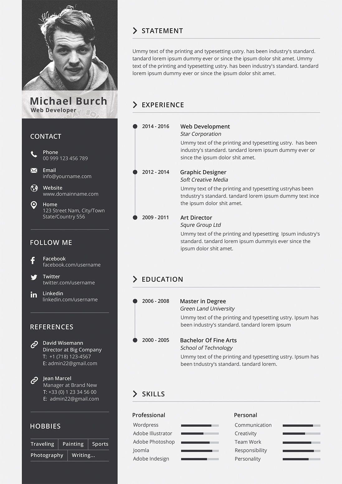 Minimal CvResume by Designs Bird on creativemarket