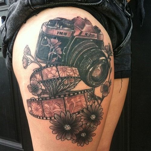 80 Camera Tattoo Designs For Men: Nikon Camera Tattoo Design