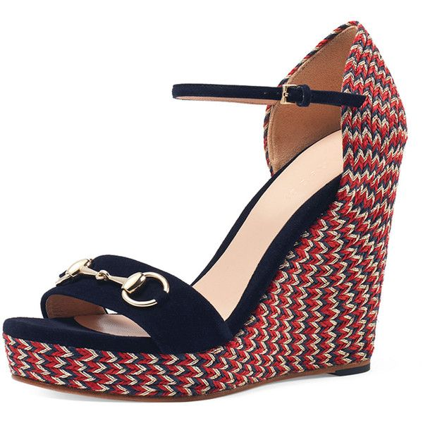 0d6e93f9e8f7 Gucci Carolina Braided-Rope Wedge Sandal (€540) ❤ liked on Polyvore  featuring