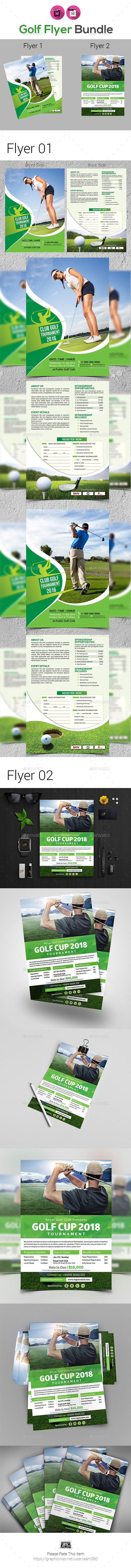 Golf Tournament Flyer Template Bundle  Flyer Template Template