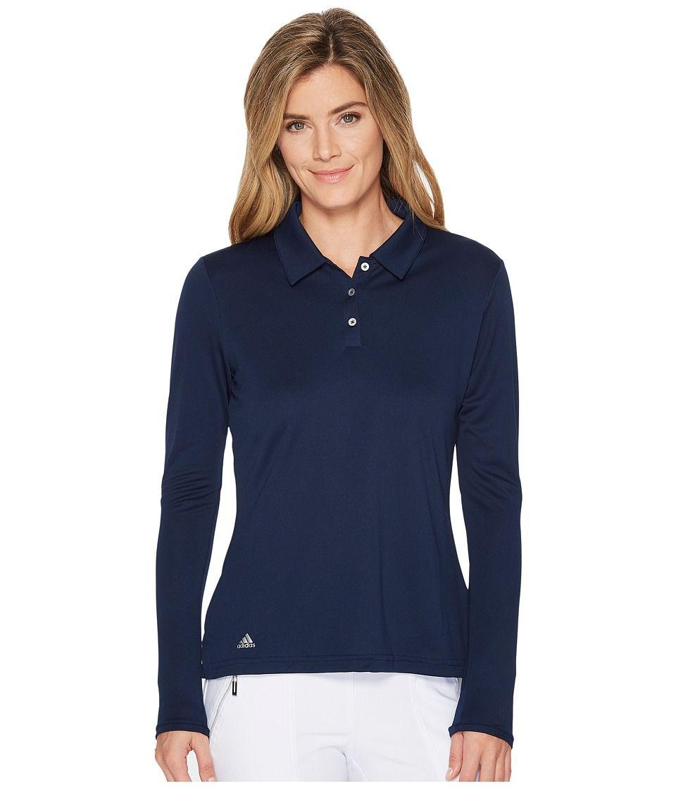 ad08f0cf adidas Golf Performance Long Sleeve Polo Women's Long Sleeve Pullover  Collegiate Navy