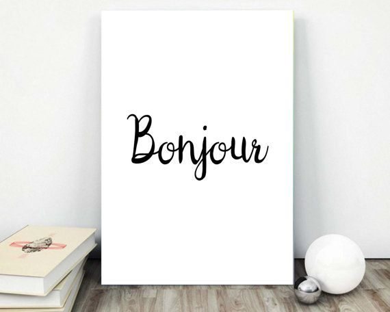Home Decor Wall Art Bonjour French Hello Home by AlbatrossCreation