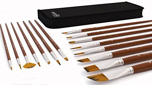 15 Piece Art Paint Brushes Set For Acrylic Oil Watercolor Face