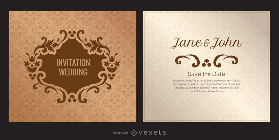 Wedding Card Design In A Vintage Retro Style This Editable Design