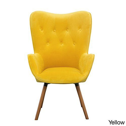 Doarnin On Tufted High Back Velvet Accent Chair Yellow