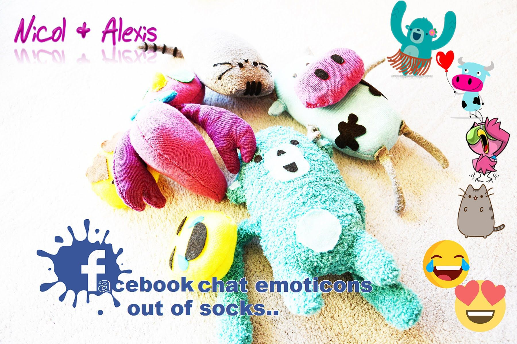 Facebook emojis out of socks