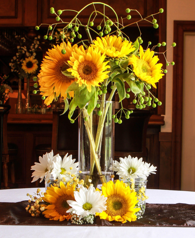 Tall sunflower centerpiece custom centerpieces and