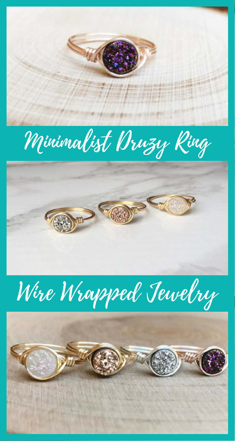 $14 Minimalist Druzy Ring // Delicate Druzy Ring // Rose Gold Druzy Wire Wrapped Jewelry // Handmade Ring. affiliate