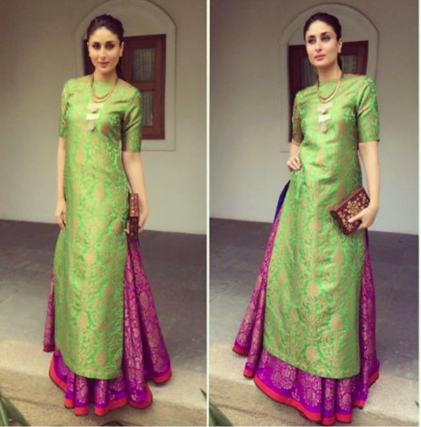 10 Best Celebrity Wedding Guest Dresses Indian: #Long #Kurta With Lehenga A Long Straight Kurta With A