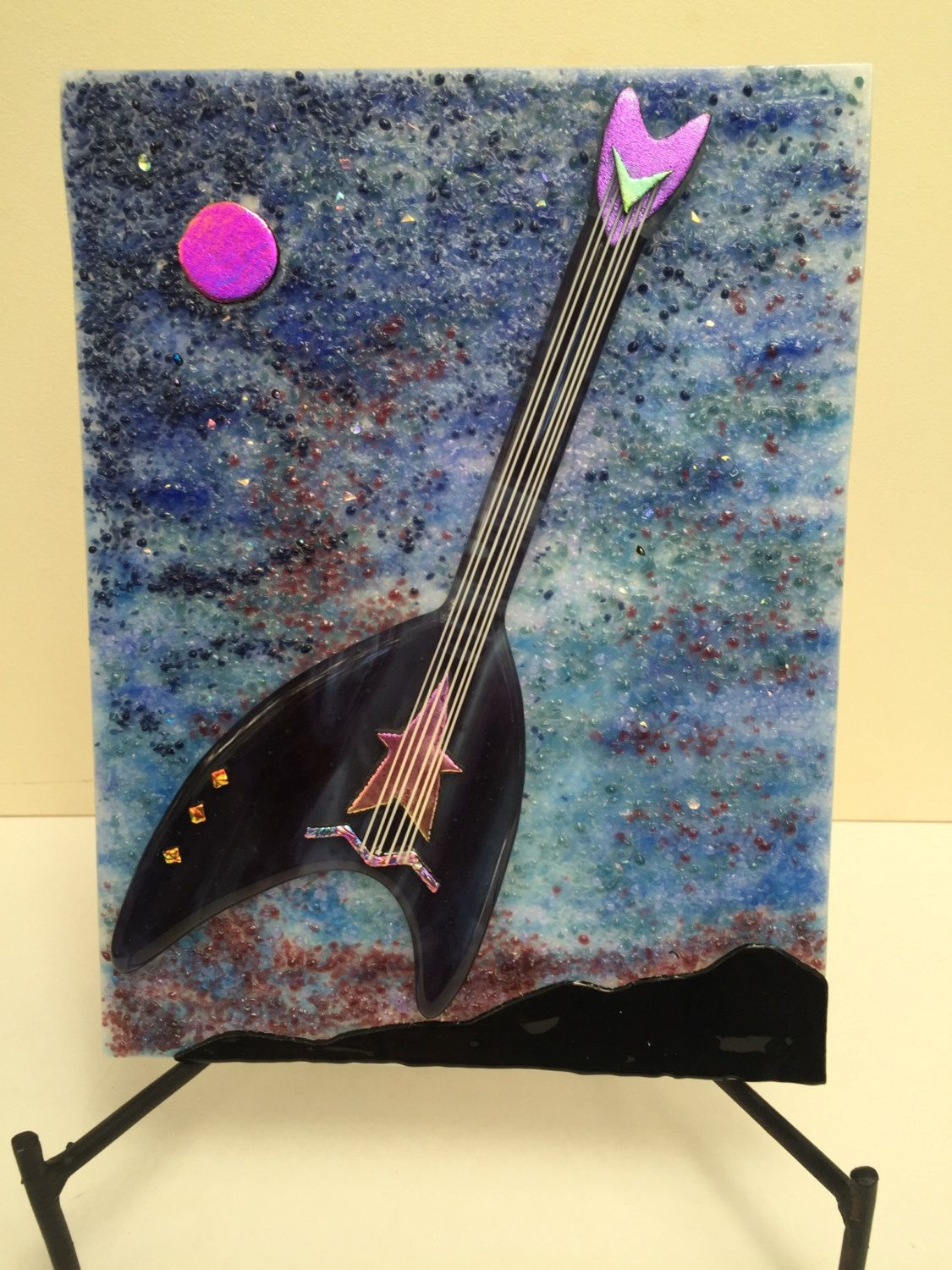 Star Trek Guitar on Night sky background, fused glass by GalleryGlassWorks on Etsy