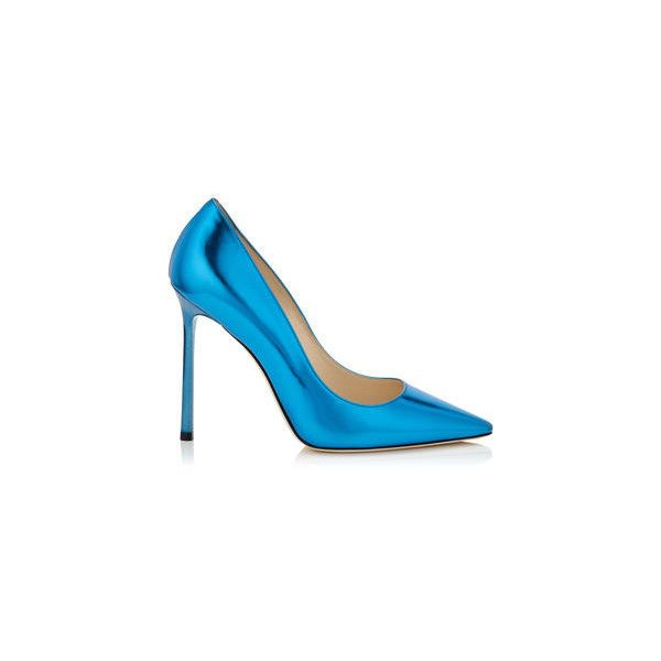 Robot Blue Mirror Leather Pointy Toe Pumps ROMY 110 ❤ liked on Polyvore featuring shoes, pumps, genuine leather shoes, leather shoes, leather pointy toe pumps, leather pumps and blue shoes