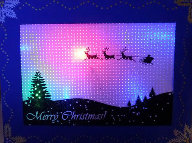 Cartão de Natal com iluminação LED