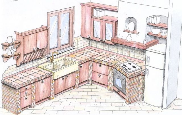 Risultati immagini per progetto cucina in muratura 3d | Cucine in ...