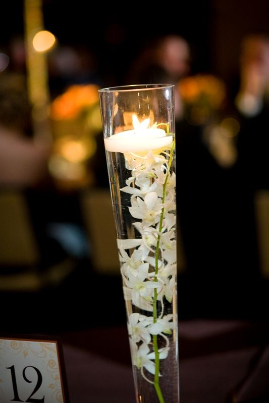 Tall Pilsner Vases Floating White Flowers Candle Centerpiece
