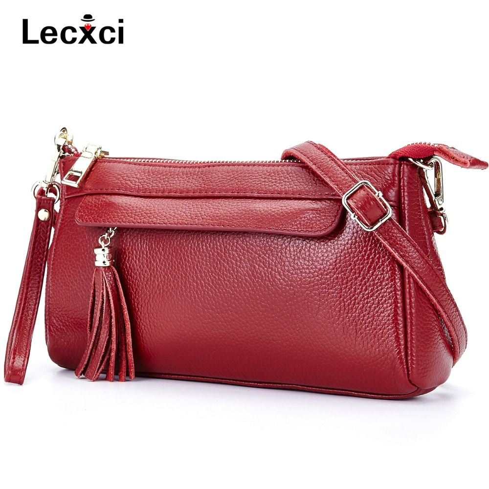 Lecxci Women s Genuine Leather Small Cross Body Shoulder Clutch Purse  Handbag for Evening 31835de94f460