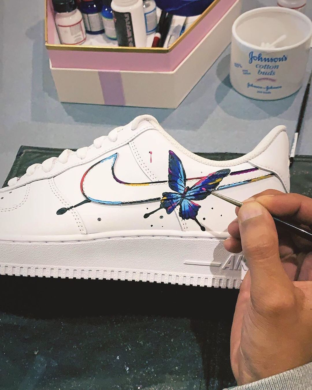 The Crep Architect's Rainbow Butterfly AF1 Sneakers, Air