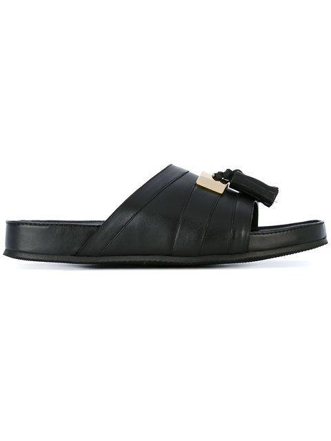 BALMAIN Tassel Plaque Sandals. #balmain #shoes #sandals