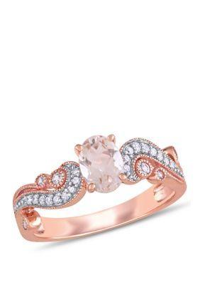 Belk Co Women Morganite White Sapphire And 1 10 Ct Tw Diamond Filigree Ring In 10k Rose Gold Rose 5 White Sapphire Engagement Ring Rose Gold Morganite