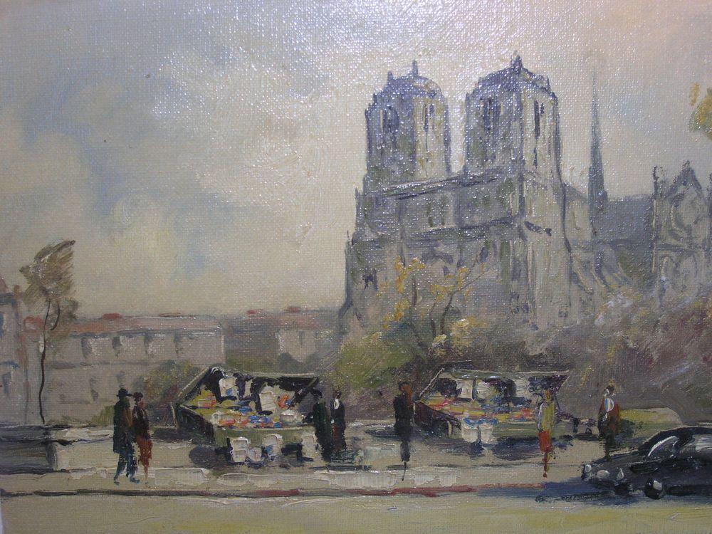 Vintage Oil Painting By M Janpol 206 Paris Notre Dame