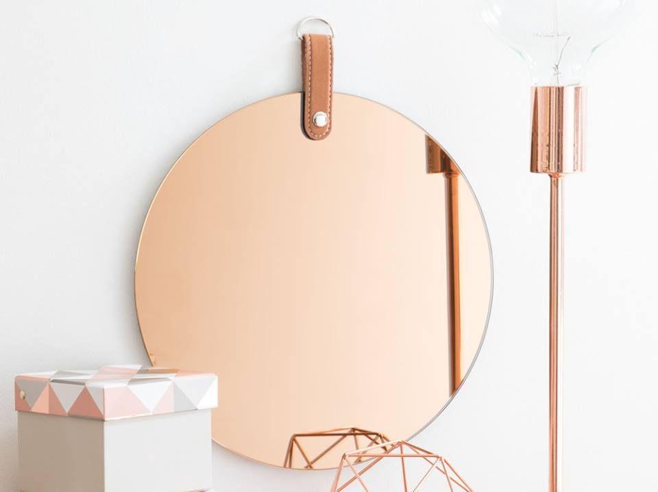 miroir rond teint cuivre maisons du monde rose gold. Black Bedroom Furniture Sets. Home Design Ideas
