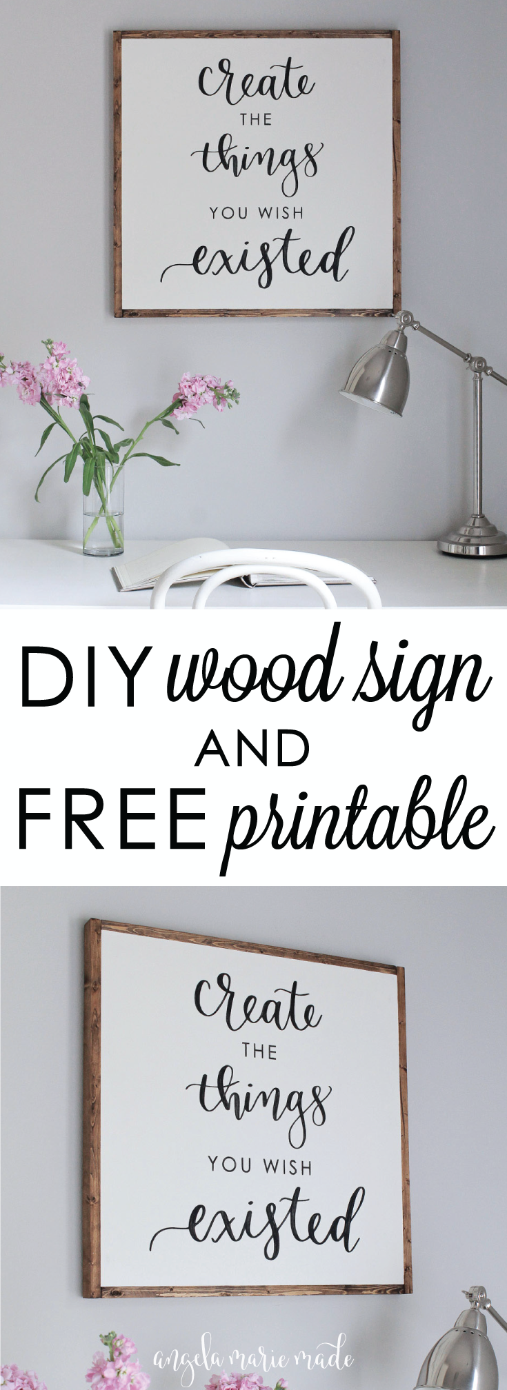 Diy wood sign with calligraphy quote office makeover rustic wood