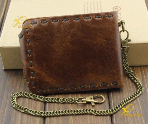 For Mens or Boys Wallet With Chain Vintage Biker Leather Bifold Snap