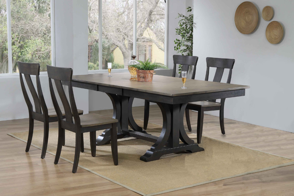 Grey Stone Black Stone Iconic Furniture Company Solid Wood Dining Set Side Chairs Dining Furniture