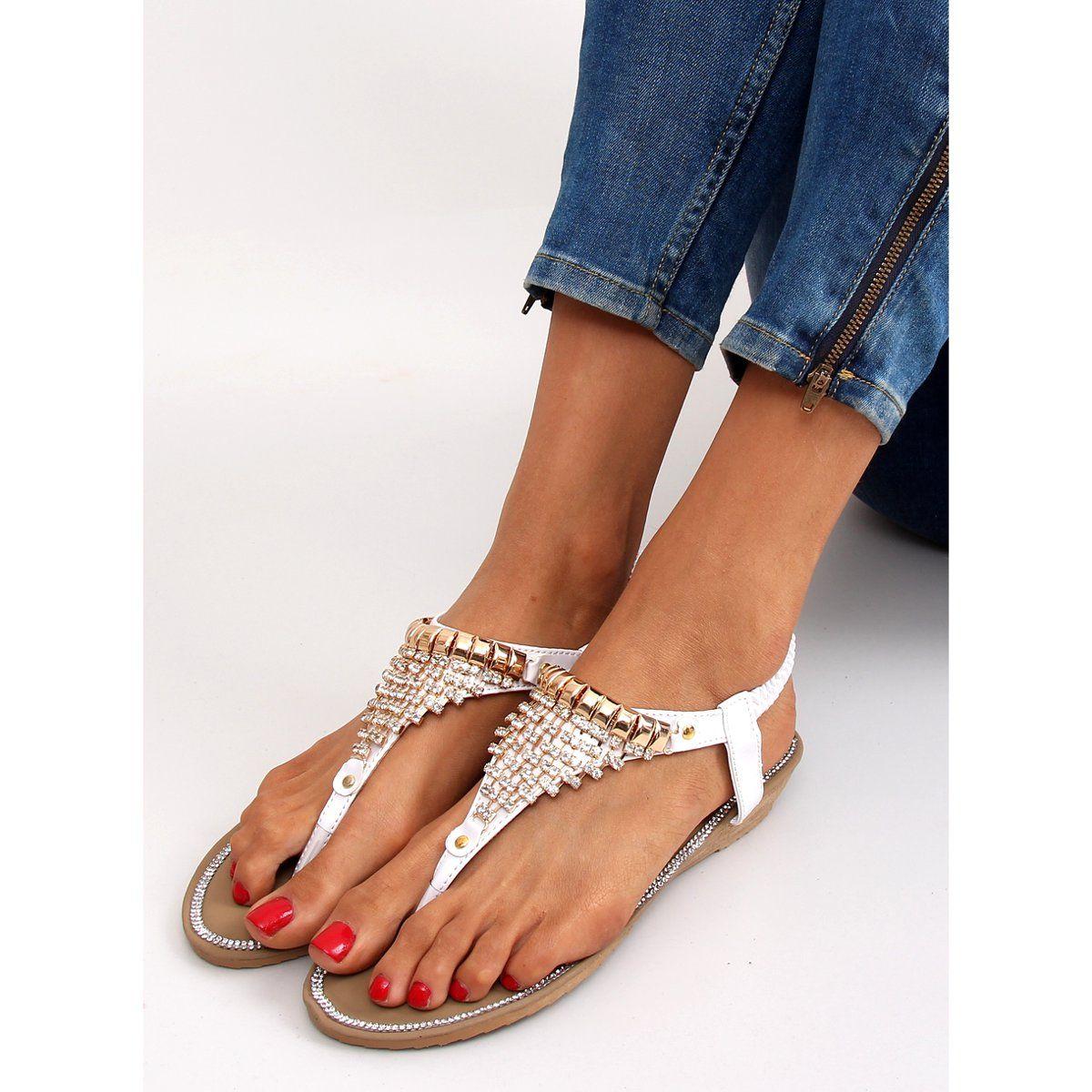 Sandalki Bogato Zdobione 2017 32 White Biale Sandals Shoes Fashion