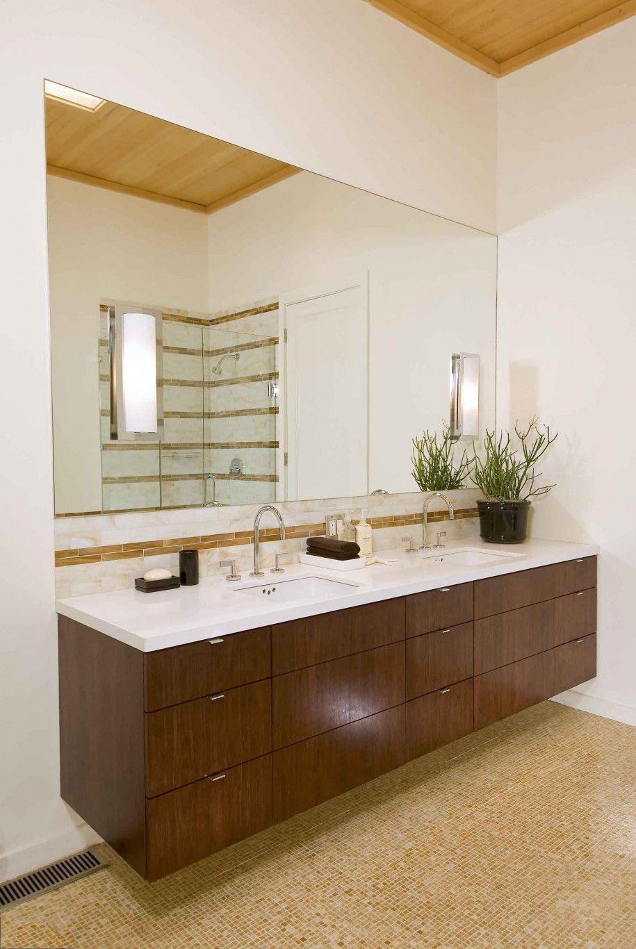 Example Of Floating Vanity W Side In One Corner Only Bathroom