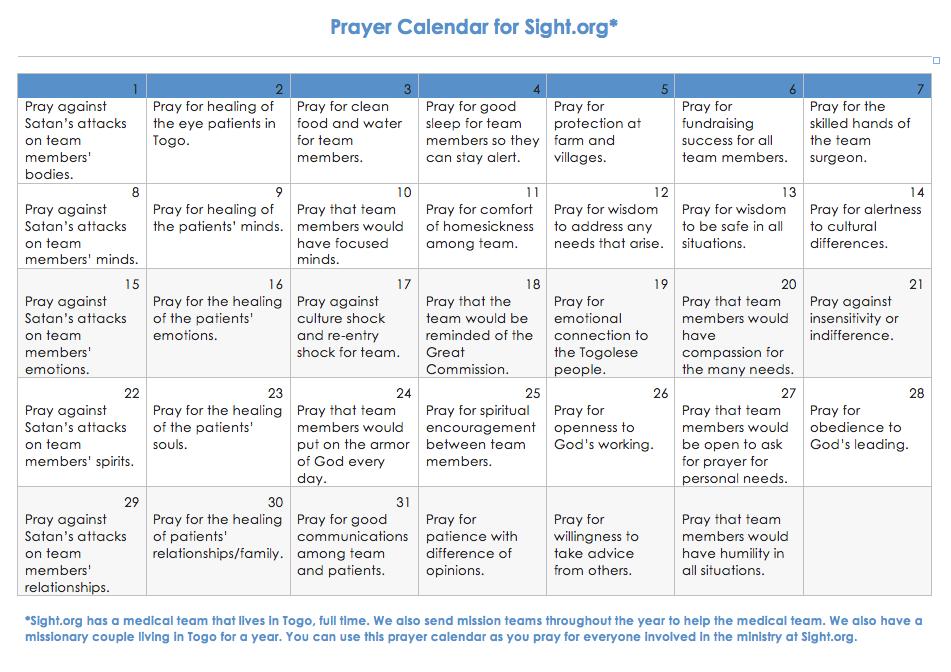 Prayer Calendar For Sight About Sight Pinterest
