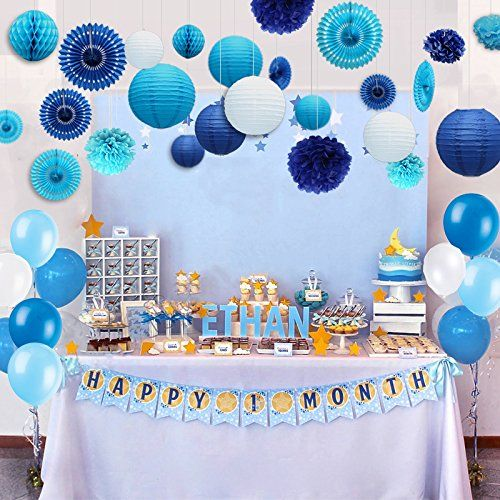 Kubert 89 Pcs White And Blue Party Decorations Including Paper