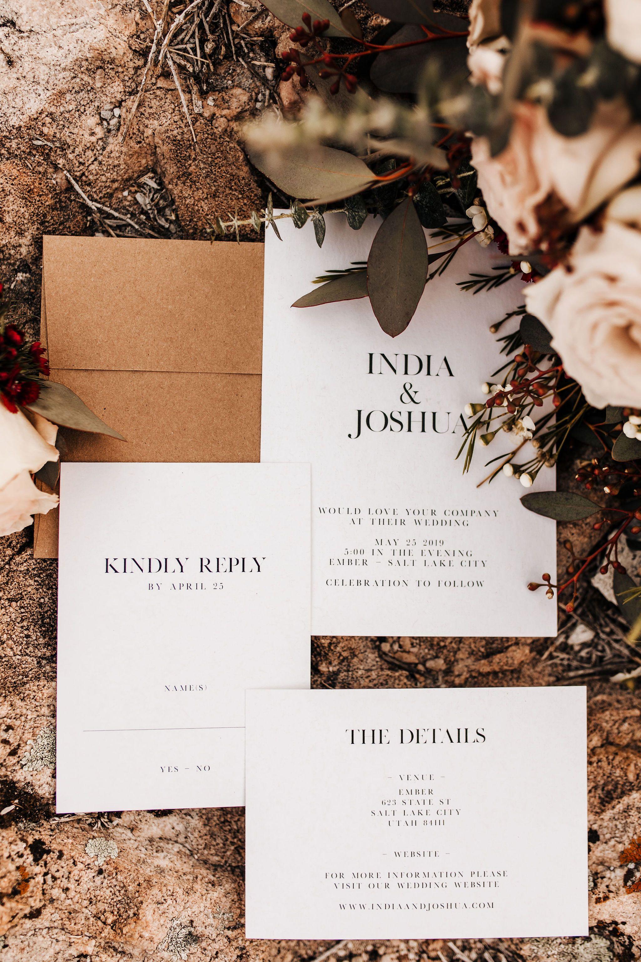 Modern Wedding Stationery Industrial Wedding Invitations Wedding Invitations Boho Minimal Wedding Invitation